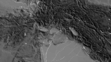 N.W.F.P., province of Pakistan. Grayscaled map with lakes and rivers. Shape outlined against its country area. 3D rendering