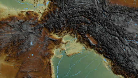 N.W.F.P., province of Pakistan. Colored relief with lakes and rivers. Shape outlined against its country area. 3D rendering