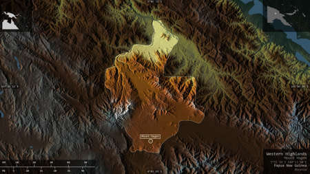 Western Highlands, province of Papua New Guinea. Colored relief with lakes and rivers. Shape presented against its country area with informative overlays. 3D rendering
