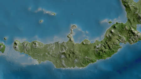 West New Britain, province of Papua New Guinea. Satellite imagery. Shape outlined against its country area. 3D rendering Foto de archivo