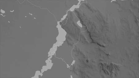 Central, department of Paraguay. Grayscaled map with lakes and rivers. Shape outlined against its country area. 3D rendering