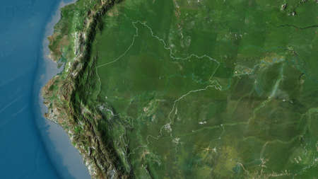 Loreto, region of Peru. Satellite imagery. Shape outlined against its country area. 3D rendering