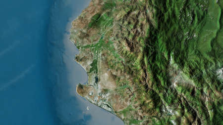 Piura, region of Peru. Satellite imagery. Shape outlined against its country area. 3D rendering