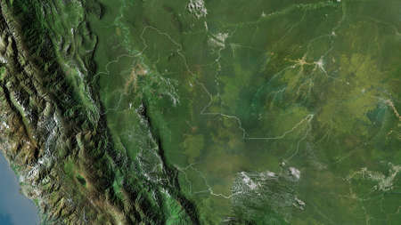 Ucayali, region of Peru. Satellite imagery. Shape outlined against its country area. 3D rendering Stock Photo