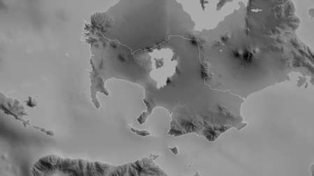 Batangas, province of Philippines. Grayscaled map with lakes and rivers. Shape outlined against its country area. 3D rendering