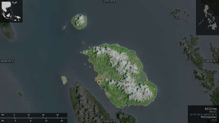 Biliran, province of Philippines. Satellite imagery. Shape presented against its country area with informative overlays. 3D rendering
