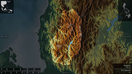 Benguet, province of Philippines. Colored relief with lakes and rivers. Shape presented against its country area with informative overlays. 3D rendering