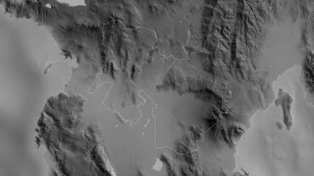 North Cotabato, province of Philippines. Grayscaled map with lakes and rivers. Shape outlined against its country area. 3D rendering