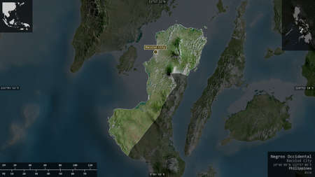 Negros Occidental, province of Philippines. Satellite imagery. Shape presented against its country area with informative overlays. 3D rendering