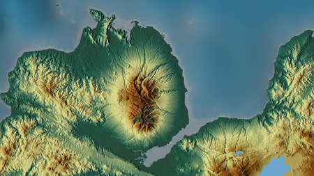 Misamis Occidental, province of Philippines. Colored relief with lakes and rivers. Shape outlined against its country area. 3D rendering
