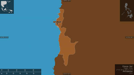 Ilocos Sur, province of Philippines. Patterned solids with lakes and rivers. Shape presented against its country area with informative overlays. 3D rendering