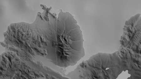 Misamis Occidental, province of Philippines. Grayscaled map with lakes and rivers. Shape outlined against its country area. 3D rendering