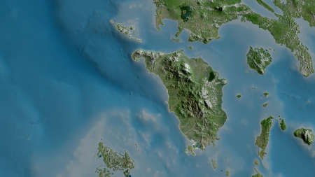 Occidental Mindoro, province of Philippines. Satellite imagery. Shape outlined against its country area. 3D rendering
