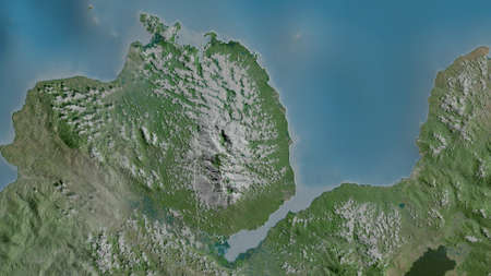 Misamis Occidental, province of Philippines. Satellite imagery. Shape outlined against its country area. 3D rendering