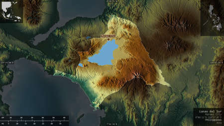 Lanao del Sur, province of Philippines. Colored relief with lakes and rivers. Shape presented against its country area with informative overlays. 3D rendering