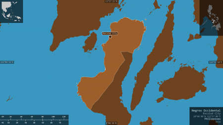 Negros Occidental, province of Philippines. Patterned solids with lakes and rivers. Shape presented against its country area with informative overlays. 3D rendering