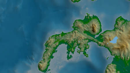 Zamboanga del Norte, province of Philippines. Colored shader data with lakes and rivers. Shape outlined against its country area. 3D rendering
