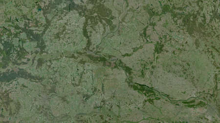 Kuyavian-Pomeranian, voivodeship of Poland. Satellite imagery. Shape outlined against its country area. 3D rendering