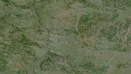 Lublin, voivodeship of Poland. Satellite imagery. Shape outlined against its country area. 3D rendering