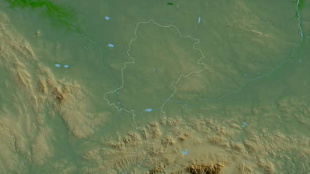 Silesian, voivodeship of Poland. Colored shader data with lakes and rivers. Shape outlined against its country area. 3D rendering