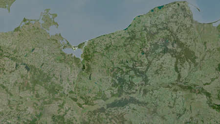West Pomeranian, voivodeship of Poland. Satellite imagery. Shape outlined against its country area. 3D rendering
