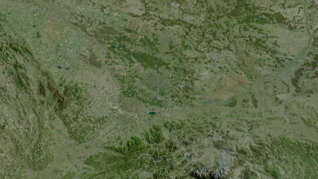 Silesian, voivodeship of Poland. Satellite imagery. Shape outlined against its country area. 3D rendering