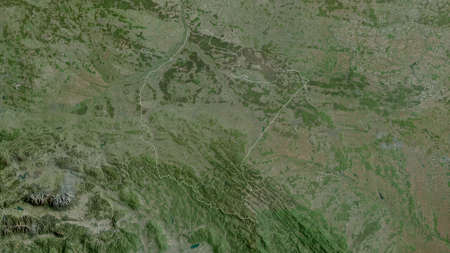 Subcarpathian, voivodeship of Poland. Satellite imagery. Shape outlined against its country area. 3D rendering
