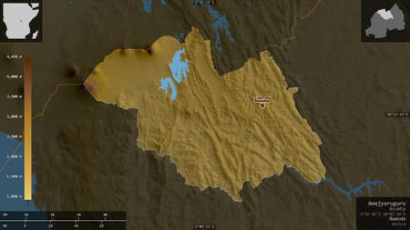 Amajyaruguru, province of Rwanda. Colored shader data with lakes and rivers. Shape presented against its country area with informative overlays. 3D rendering