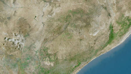 Bay, region of Somalia. Satellite imagery. Shape outlined against its country area. 3D rendering