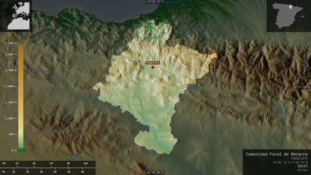 Comunidad Foral de Navarra, autonomous community of Spain. Colored shader data with lakes and rivers. Shape presented against its country area with informative overlays. 3D rendering