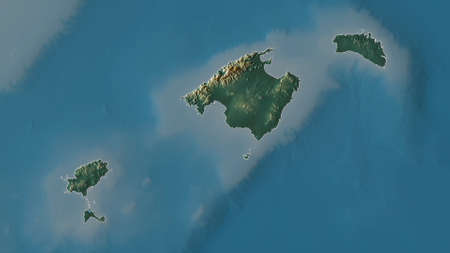 Islas Baleares, autonomous community of Spain. Colored relief with lakes and rivers. Shape outlined against its country area. 3D rendering