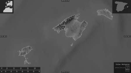 Islas Baleares, autonomous community of Spain. Grayscaled map with lakes and rivers. Shape presented against its country area with informative overlays. 3D rendering