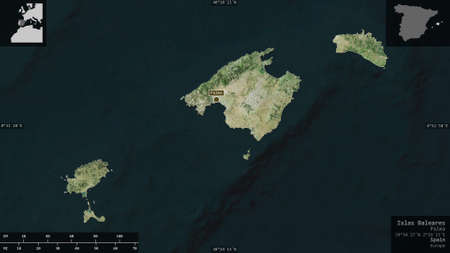 Islas Baleares, autonomous community of Spain. Satellite imagery. Shape presented against its country area with informative overlays. 3D rendering