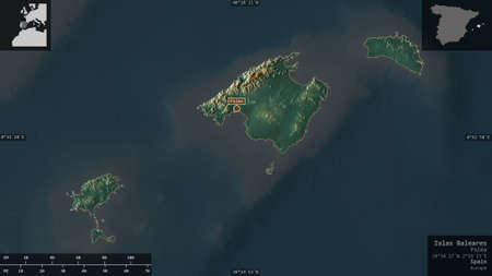 Islas Baleares, autonomous community of Spain. Colored relief with lakes and rivers. Shape presented against its country area with informative overlays. 3D rendering