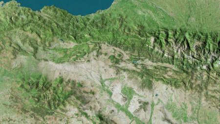Comunidad Foral de Navarra, autonomous community of Spain. Satellite imagery. Shape outlined against its country area. 3D rendering