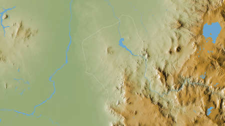 Blue Nile, state of Sudan. Colored shader data with lakes and rivers. Shape outlined against its country area. 3D rendering