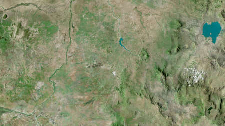 Blue Nile, state of Sudan. Satellite imagery. Shape outlined against its country area. 3D rendering