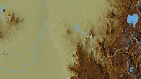 Blue Nile, state of Sudan. Colored relief with lakes and rivers. Shape outlined against its country area. 3D rendering