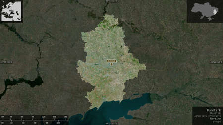 Donets'k, region of Ukraine. Satellite imagery. Shape presented against its country area with informative overlays. 3D rendering Stock Photo