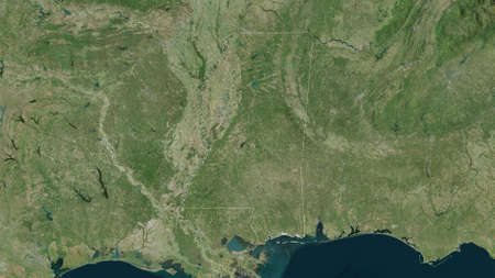 Mississippi, state of United States. Satellite imagery. Shape outlined against its country area. 3D rendering