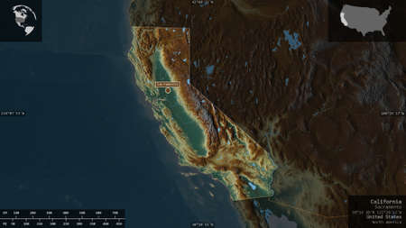 California, state of United States. Colored relief with lakes and rivers. Shape presented against its country area with informative overlays. 3D rendering