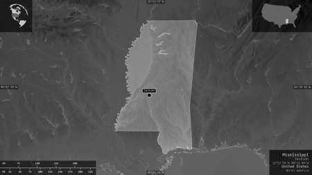 Mississippi, state of United States. Grayscaled map with lakes and rivers. Shape presented against its country area with informative overlays. 3D rendering 版權商用圖片