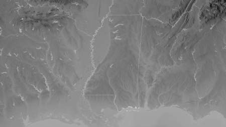 Mississippi, state of United States. Grayscaled map with lakes and rivers. Shape outlined against its country area. 3D rendering