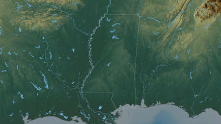 Mississippi, state of United States. Colored relief with lakes and rivers. Shape outlined against its country area. 3D rendering