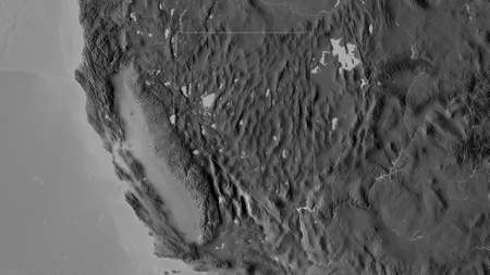 Nevada, state of United States. Grayscaled map with lakes and rivers. Shape outlined against its country area. 3D rendering Reklamní fotografie - 153525888