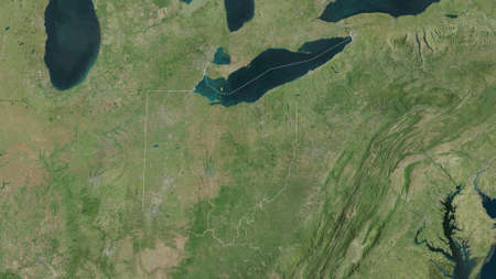 Ohio, state of United States. Satellite imagery. Shape outlined against its country area. 3D rendering Stock Photo