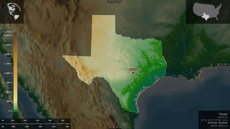 Texas, state of United States. Colored shader data with lakes and rivers. Shape presented against its country area with informative overlays. 3D rendering