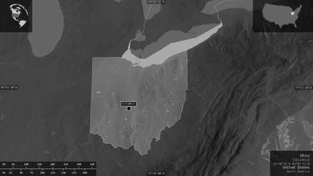 Ohio, state of United States. Grayscaled map with lakes and rivers. Shape presented against its country area with informative overlays. 3D rendering Stock Photo