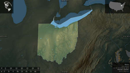 Ohio, state of United States. Colored relief with lakes and rivers. Shape presented against its country area with informative overlays. 3D rendering
