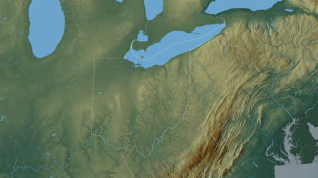 Ohio, state of United States. Colored relief with lakes and rivers. Shape outlined against its country area. 3D rendering